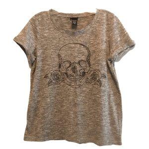 TORRID Gray Skull/Roses Tee